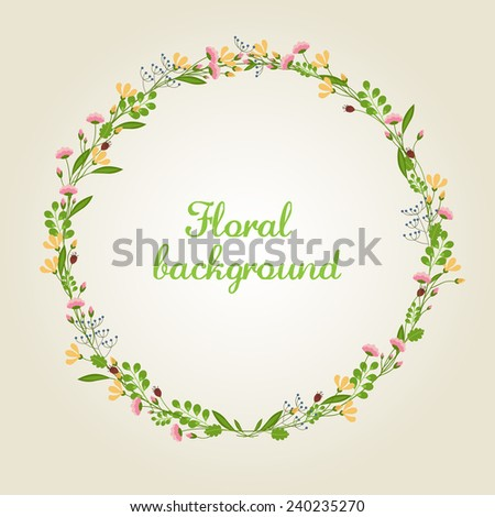 Flower Wreath Illustration - Vector EPS10 - stock vector