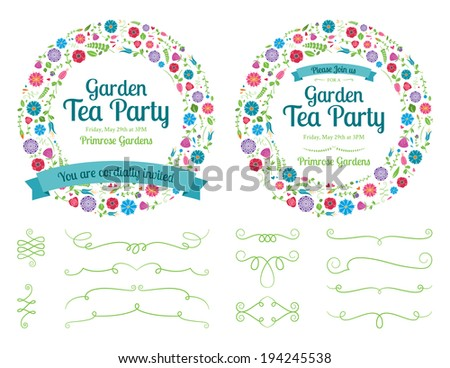 Flower Wreath Invitation and Design Elements - stock vector