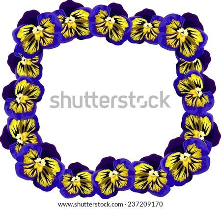 Flower wreath of purple pansies - stock vector