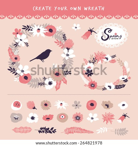 Flower wreath & set of flower elements, you can create your own wreath - stock vector