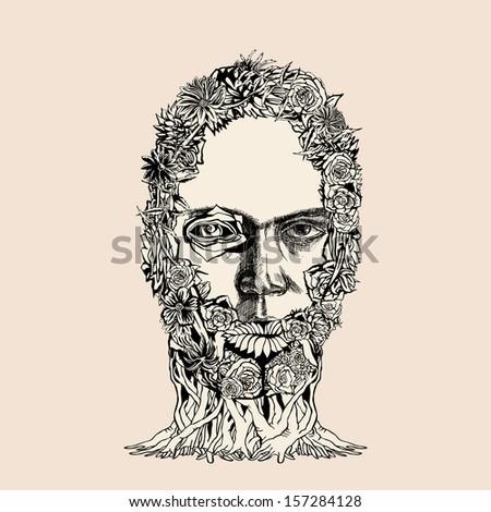 Flower Zombie Head.  - stock vector