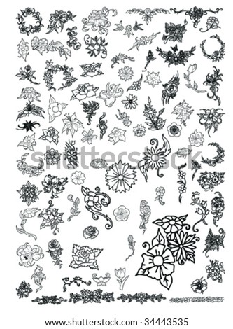 floweres and floral collection - stock vector