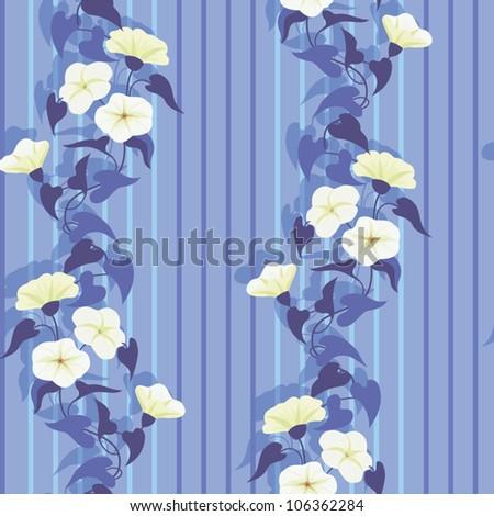 Flowering bindweed, seamless floral striped wallpaper in blue - stock vector