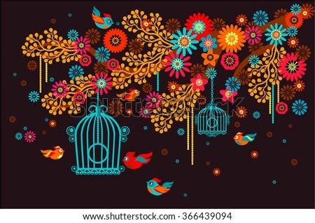 Flowering branch on a dark background, bird cage - stock vector