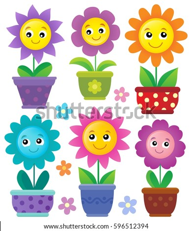 Flowerpots with smiling flowers set 1 - eps10 vector illustration.