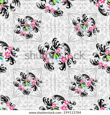Flowers abstract seamless vector pattern grunge effect background - stock vector
