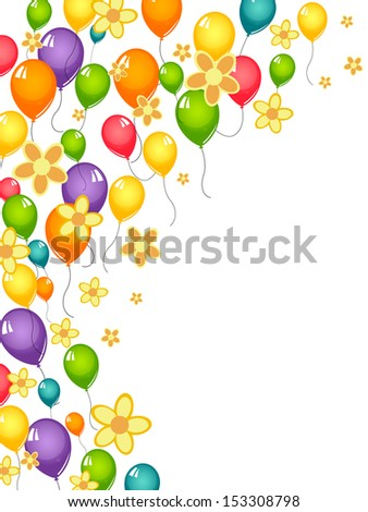 Flowers and balloons - vector - stock vector