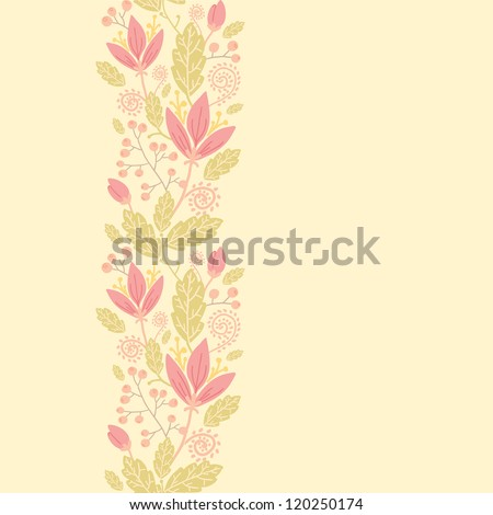 Flowers and berries vertical seamless pattern background border - stock vector