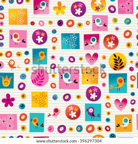 flowers and birds nature seamless pattern with lined paper background - stock vector