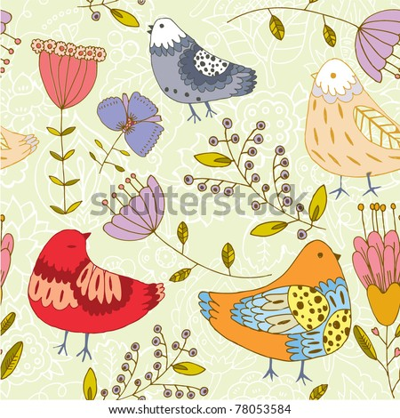 flowers and birds seamless background