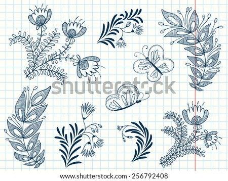 Flowers and butterflies abstract doodle set - stock vector