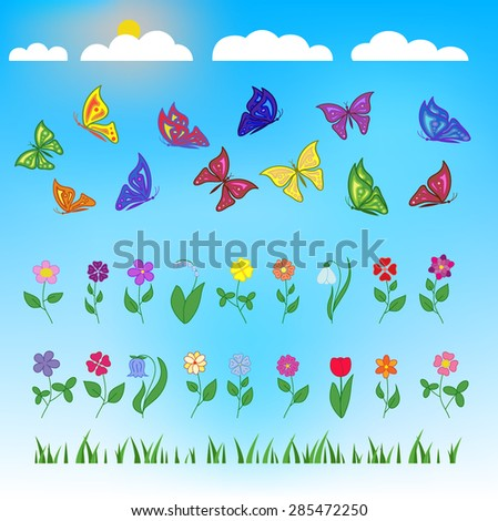 Flowers and butterflies flat design on blue background. Sun and clouds. Set of flat design beauty and nature icons for websites, print, promotional materials, web and mobile services, fashion. Vector