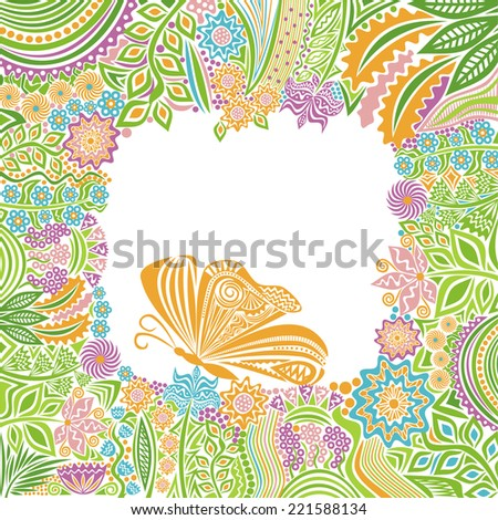 Flowers and butterfly vector illustration - stock vector