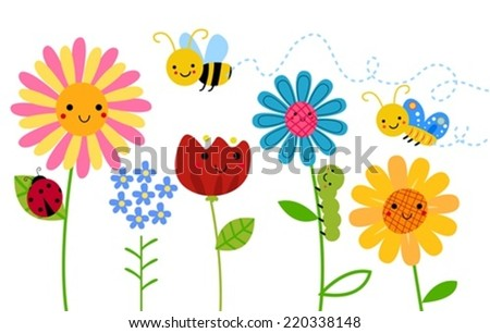 Flowers and insects - stock vector
