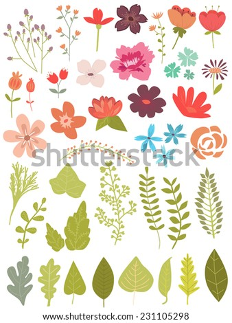 Flowers and leaf - stock vector