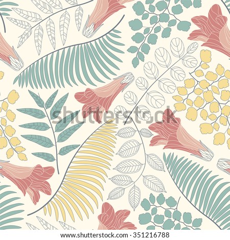 flowers and leaves on a white background in seamless pattern