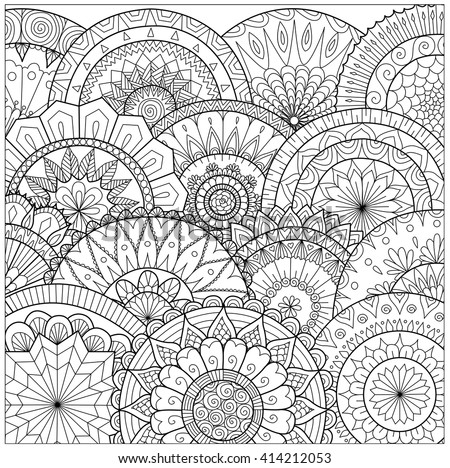 Flowers And Mandalas Line Art For Coloring Book Adult Cards Other Decorations