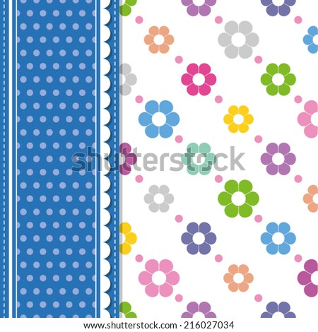 flowers and polka dot greeting card - stock vector
