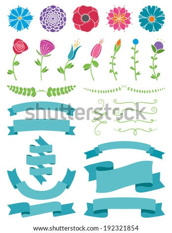Flowers and Ribbons Design Elements - stock vector