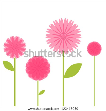 Flowers And Stems - stock vector