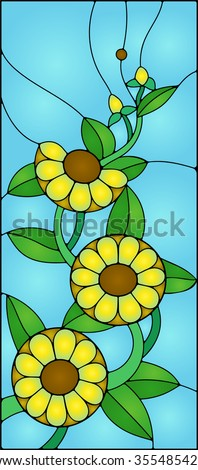 Flowers and sunflowers with buds in stained glass window - stock vector