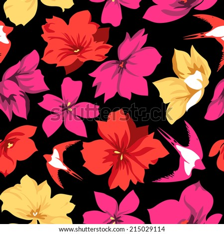 flowers and swallow birds ~ seamless vector background - stock vector