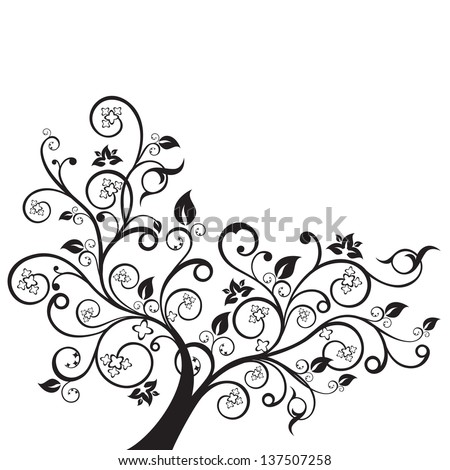 Flowers and swirls design element silhouette in black. This image is a vector illustration. - stock vector