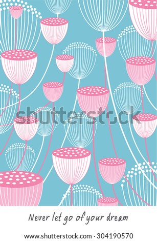 flowers blooming on blue background vector illustration - stock vector