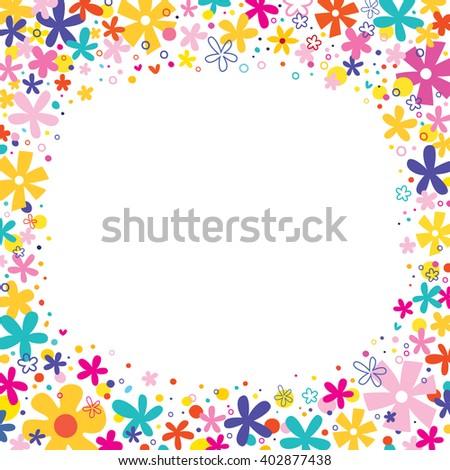 flowers border frame nature design elements - stock vector