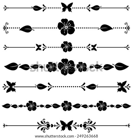 Flowers borders.  Collection of design elements isolated on White background. Vector illustration - stock vector