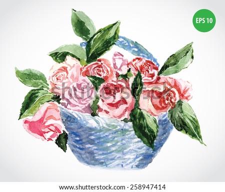 flowers bouquet in basket, watercolor - stock vector