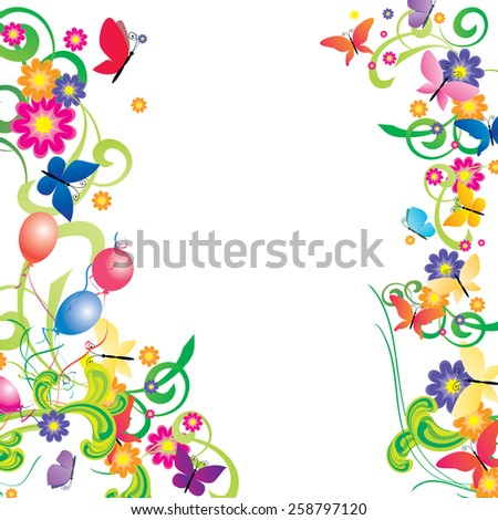 flowers, butterflies and balloons colorful frame - stock vector