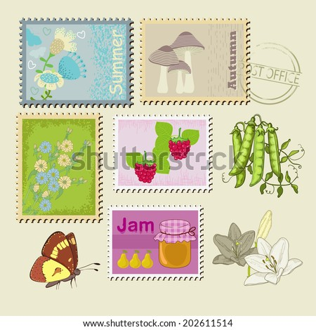 Flowers,  butterfly,jam on stamps