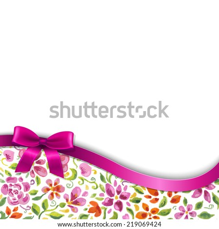 Flowers Card With Pink Ribbon, With Gradient Mesh, Vector Illustration - stock vector
