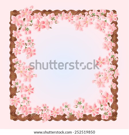 Flowers cherries spring background frame place for text  vector illustration - stock vector