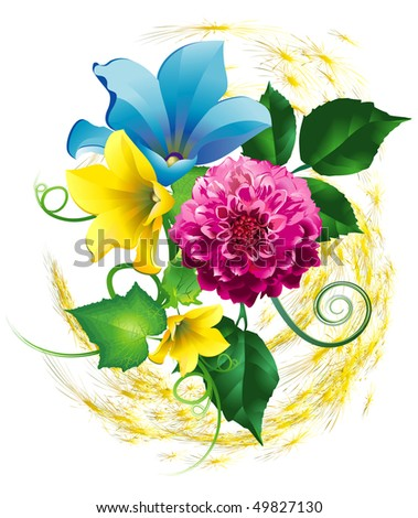 Flowers, dahlia pink and bindweed yellow and blue - stock vector