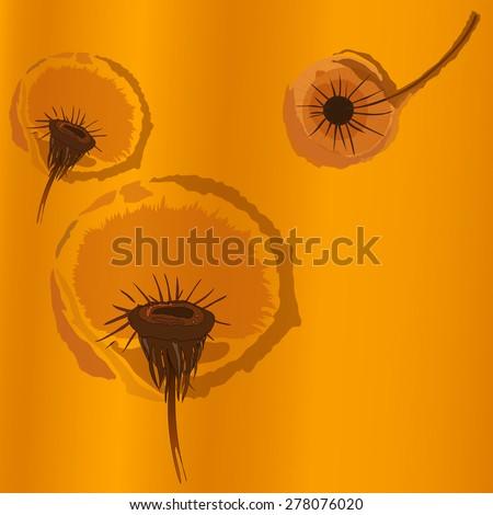 Flowers dandelions. - stock vector