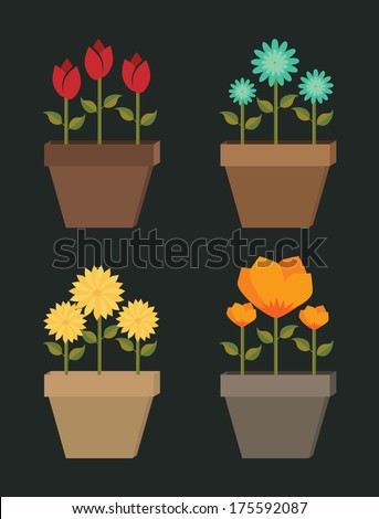 flowers design over black  background vector illustration