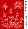 Flowers embroidery - stock vector