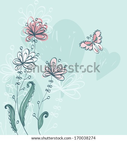 Flowers fantasy. Cute floral  background for your text. - stock vector