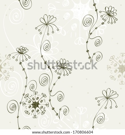 Flowers fantasy. Cute floral seamless pattern . - stock vector