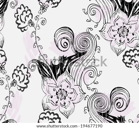 Flowers fantasy. Cute vector floral seamless pattern. - stock vector
