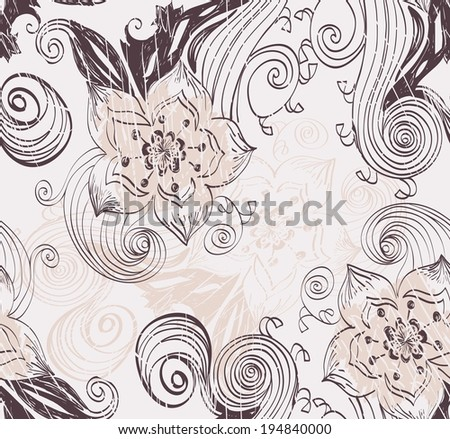 Flowers fantasy. Cute vector floral seamless pattern.