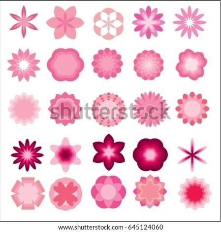 Flowers garden style cute cartoon pink flowers stock vector flowers garden stylete cartoon of pink flowers set vector icon on white for sticker mightylinksfo