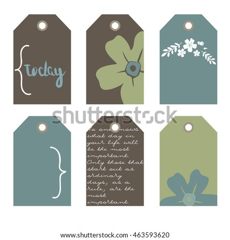 flowers, green, brown and blue. Vector hand drawn set.  Romantic tags collection  with flowers, lettering.  Set of  holiday invitations.