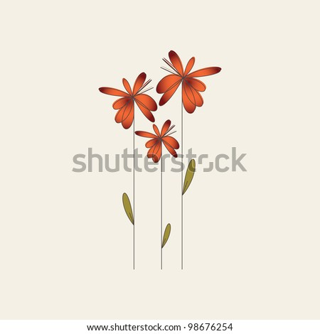 Flowers greeting card - stock vector