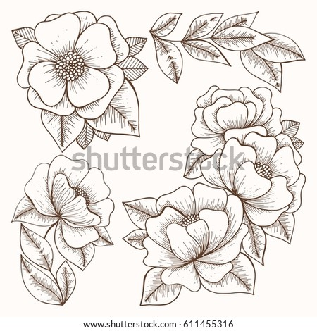 Flowers Hand Drawing Vector Set For Design And Decoration Of Textiles Wallpaper