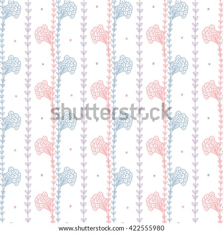 Flowers. Hand drawn doodle Wild Flowers. Floral Seamless pattern - Vector illustration. Blue Pink Floral background. Wildflowers. Grass. - stock vector