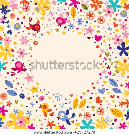 flowers, hearts, birds love nature circle frame background - stock vector