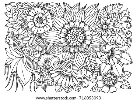Flowers In Black And White For Adult Coloring Book Can Use Print